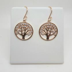 Rose on sterling silver Tree of Life drop earrings