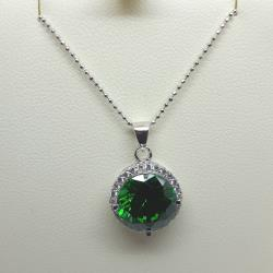 Sterling silver round green agate pendant