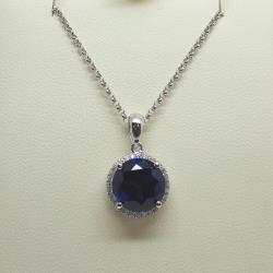 Sterling silver round sapphire pendant