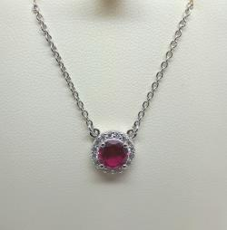 Sterling silver round green ruby  pendant