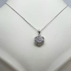 9ct white gold fancy cluster pendant