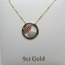9ct yellow gold ruby & cubic zirconia