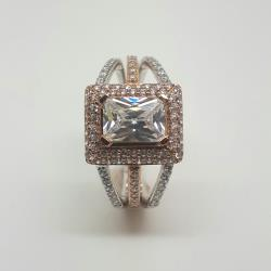 9ct white & rose gold ring