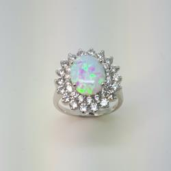 Sterling silver opal cluster ring